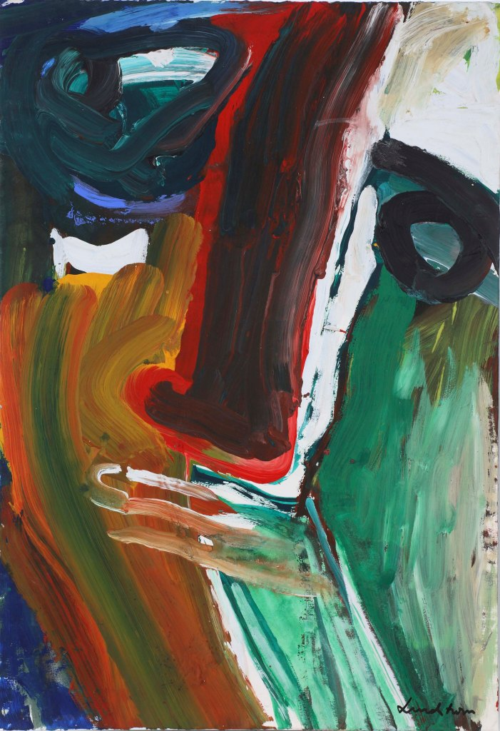 Face, Gouache on paper on canvas, 91x63 cm